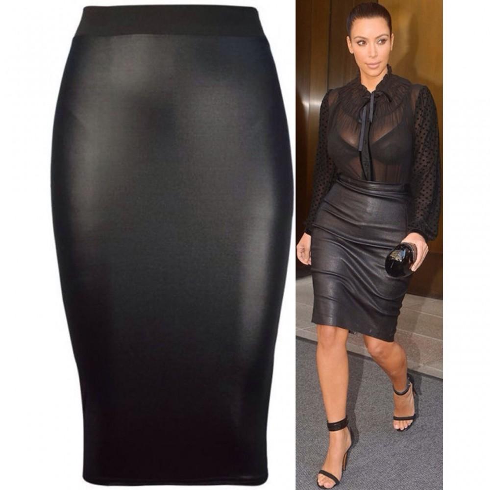 Celeb Kim Style High Waist Bodycon Pencil Skirt